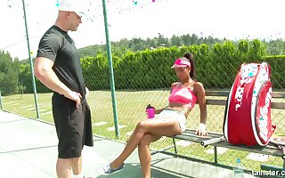 Wild fucking on the tennis court with hot ass Isabella Chrystin