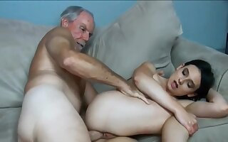 Grandpa with monster cock abused slutty amateur girl