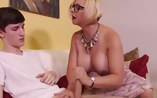 Sexy mature milf jerking off her stepson's big dick