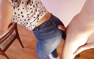 CUM ON A BIG ASS IN JEANS - 4K fuck my jeans