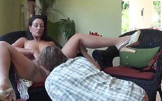 Mature stepmom with big boobs seduces and fucks her young stepson