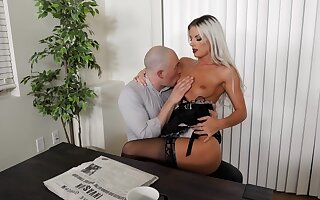 Sexy blonde maid likes fucking with the master when his wife is not home