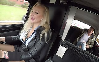 Impressive nude porn with a blonde taxi driver with big tits