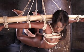 Gagged ebony acts submissive in brutal XXX BDSM play