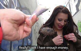 European babe takes the money and starts working magic