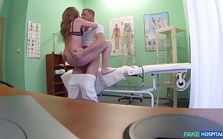 Aroused girl strips for the doctor and lets him bang her tiny holes