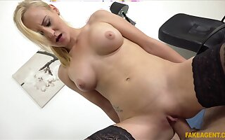 Blonde woman rides hard and pushes the limits of the man's dick