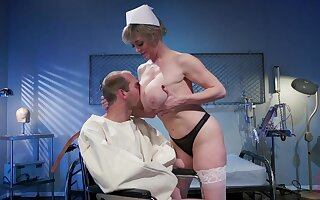 Mature nurse makes man to feel fine again due to a good fuck
