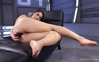 Solo beauty rides her toys then tries the fucking machine in proper XXX