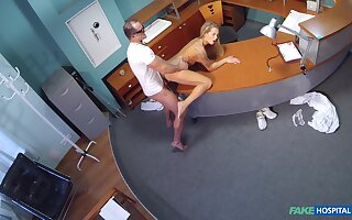 Sexy blonde Adel visits the hospital, and doctor does a bang up job