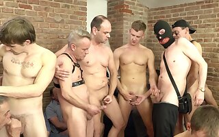 Massive gay orgy with a lot of handjobs, blowjobs and jizz