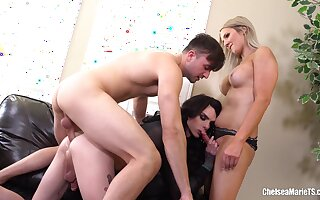 Two shemales and onde dirty dude. Chelsea Marie & Kayleigh Coxx