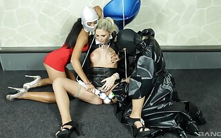 Lesbian babes Jenna Lovely and Mia Angel pleasure their straight friend