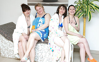 These women love to unwind in an all mature sauna