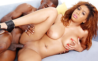 Busty Ebony Tart Katt Garcia Oils Up Her Tits Before Fucking a Huge Cock