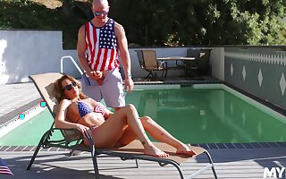 Insane coitus by the pool with cheating wives, full compilation