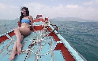 Sexy bootyful brunette bikini girl Cassie rides horseshit mad loll