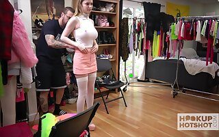 ample breasted teen Bunny Colby is changing the brush clothes