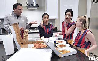 Very casual guy fucks three cock hungry babes at his home. HD