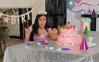 Loneny birthday girl Whitney Wright is licked by Bridgette B