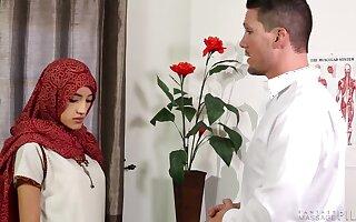 Scrawny Muslim woman Chloe Amour gets nasty during full body massage