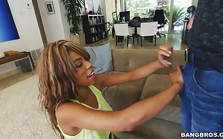 Adorable ebony Annabelle Rey spreads her legs to hate fucked hard