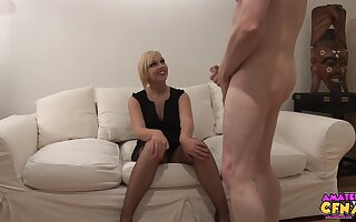 Foxy blonde babe Scarlet Lovatt gives head and gets fucked