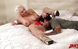 Tattooed defy fucks orgasmic pussy of blonde Holly Heart in lingerie